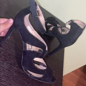 NEW BCBG Paris Black Strappy Open Toed Pumps Clear